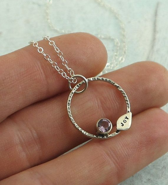 Joy Necklace  sterling silver and amethyst
