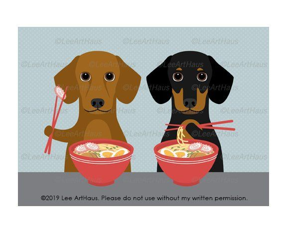 97g 5x7 Two Dachshund Dogs Eating Ramen Noodles Wall Art Ramen