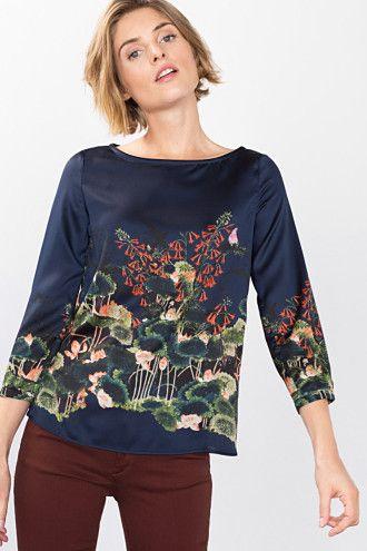 Esprit / Soepele satijnen blouse met print