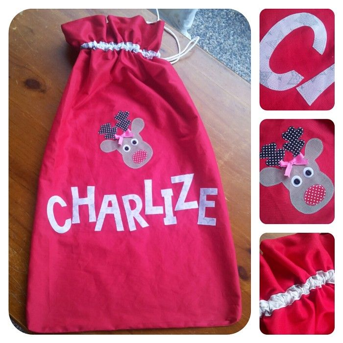 Santa Sacks with a personalised name and christmas applique
