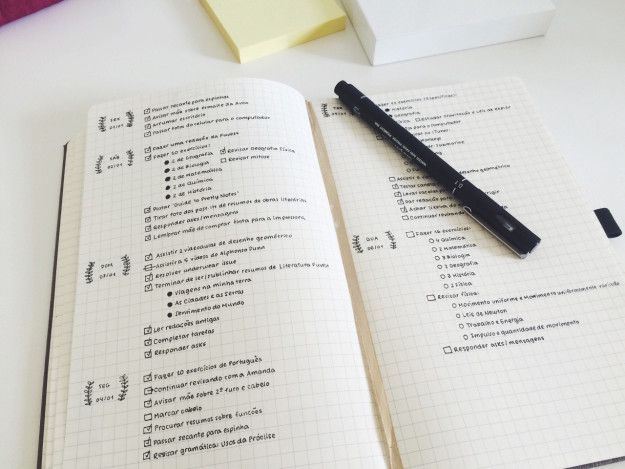 Mesmo com uma cor de caneta só este planejamento de estudos tem todo um charme. | 15 diários em tópico da vida real para te inspirar a começar um
