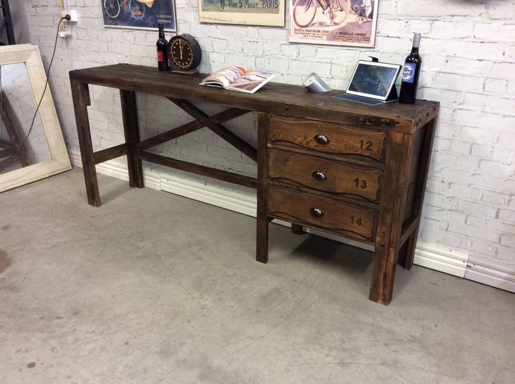 Industrial style workbench desk station