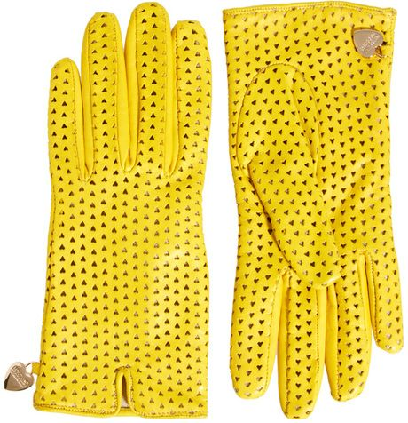 Perforated Heart Gloves - Moschino