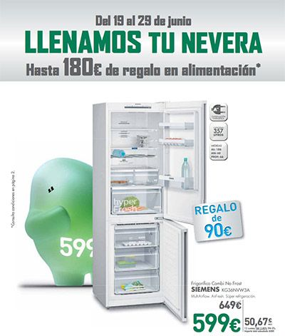 Catálogo El Corte Inglés del 19 al 29 de Junio -  Ofertas válidas del 19 al 29 de Junio de 2017 Si compras un frigorífico en El Corte Inglés del 19 al 29 de julio junio te regalan hasta 180 € de regalo en alimentación. Destacamos el frigorífico combi no frost Siemens KG36NVW3A por solo 599 €. Si quieres un frigorífico grande total no frost Side... #CatálogosElCorteInglés, #Catálogosonline  #LG, #Siemens Ver en la web : https://ofertassupermercados.es/catalo