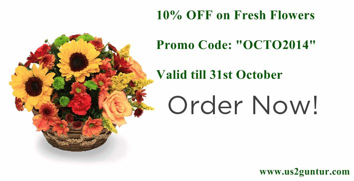 "Fresh Flowers! Send Fresh Flowers for any occasion 10% discount use Promo Code ""OCTO2014"" Offer ends on 31st October For more Info click here - http://goo.gl/nC1tEW"