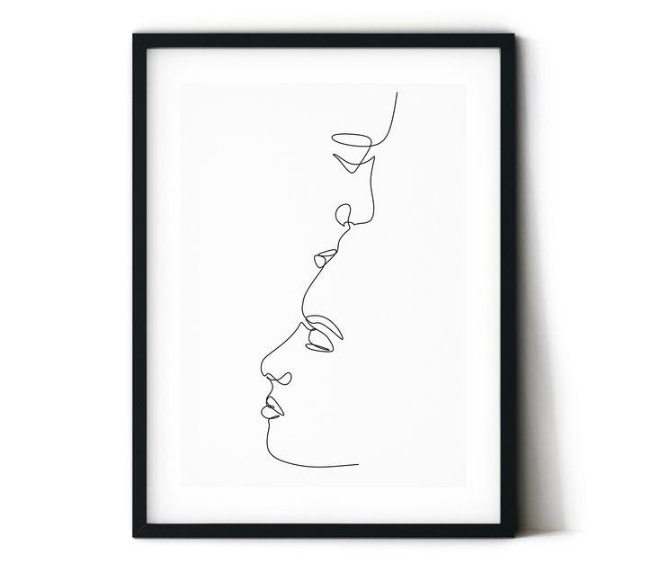 Couple kissing printableone line romantic art print