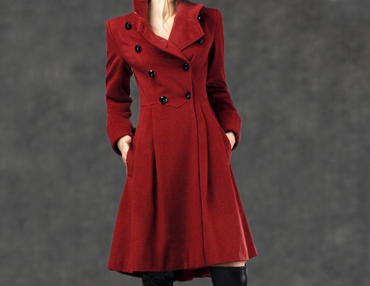 winter coats for women red cashmere jacket. $189.00, via Etsy.