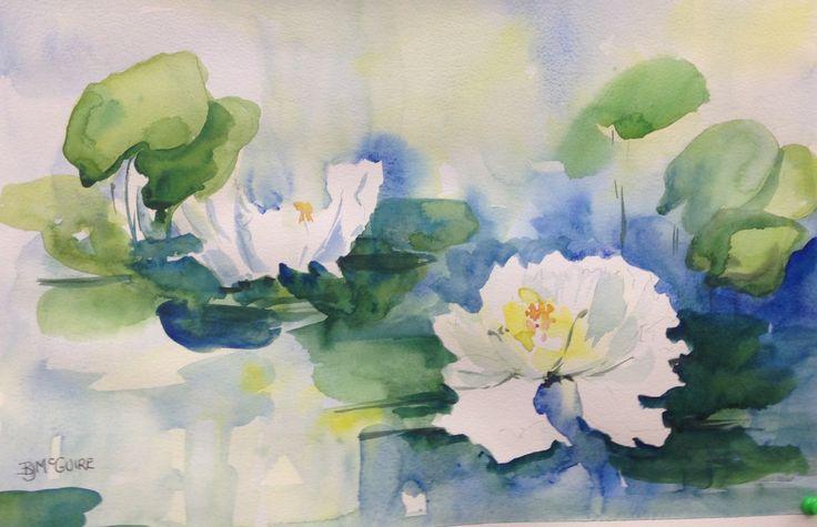 Watercolour.  Lilies.