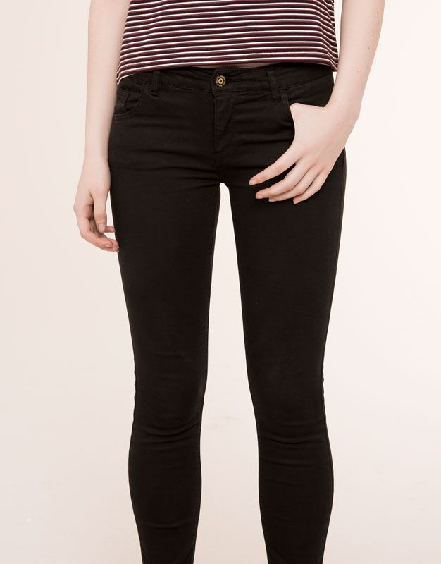pull bear mujer novedades jeans pitillo push up negro 09682362 v2016 clothes. Black Bedroom Furniture Sets. Home Design Ideas