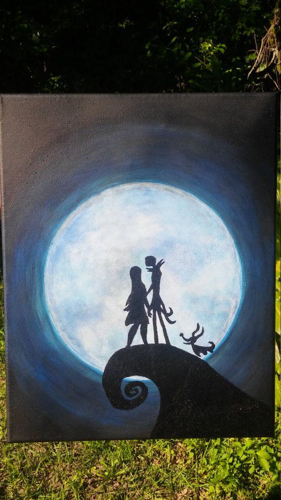 Hand Painted Disney's Nightmare Before Christmas Jack & Sally Painitng