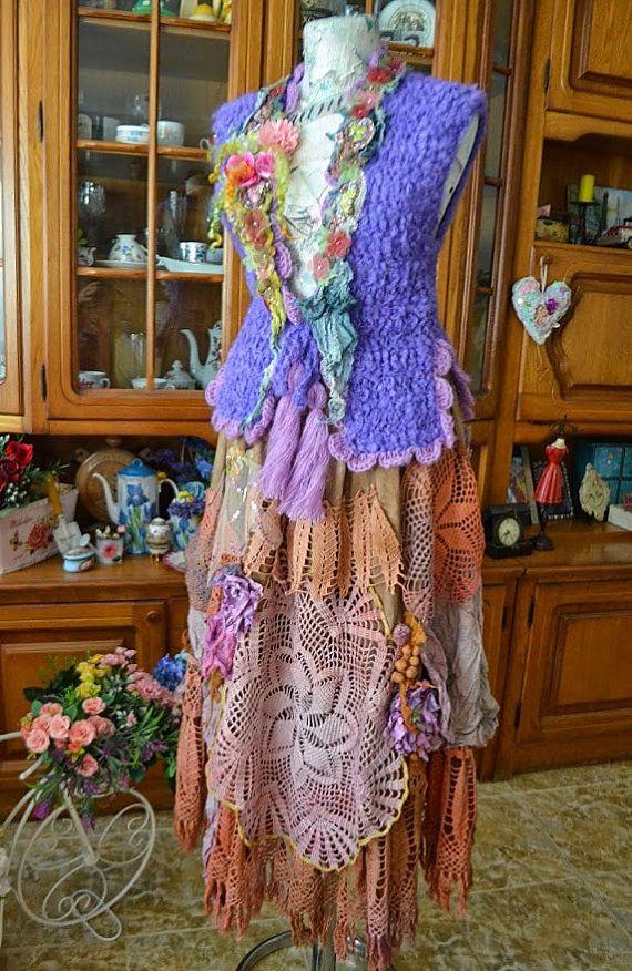 Shabby chic skirt Bohemian skirt altered couture by irinacarmen