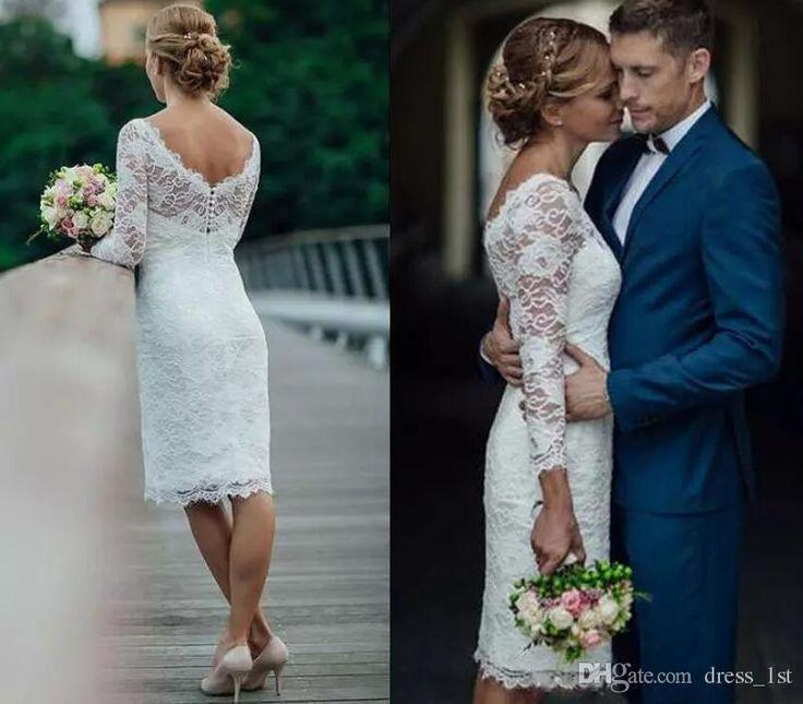 Sommer 2017 Kurze Spitze Brautkleider Knielangen Einfache Weiss Elfenbein Kurze Kleider Hochzeit Brautkleid Spitze Brautkleid Kurz Braut