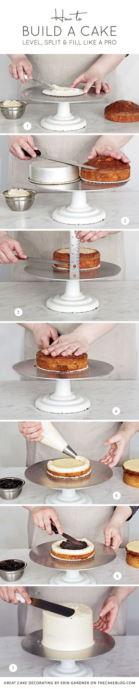 How to Build a Cake ~ Level, split and fill like a pro | Great Cake Decorating by Erin Gardner on TheCakeBlog.com #diy #howto #tutorial