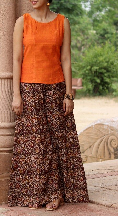 Kalamkari Flared Palazzo Pants - the brilliant colors remind me of the Indian…