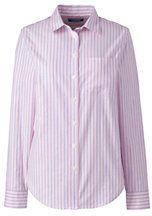 Lands' End Women's Oxford Shirt-Pink Sapphire Double Stripe
