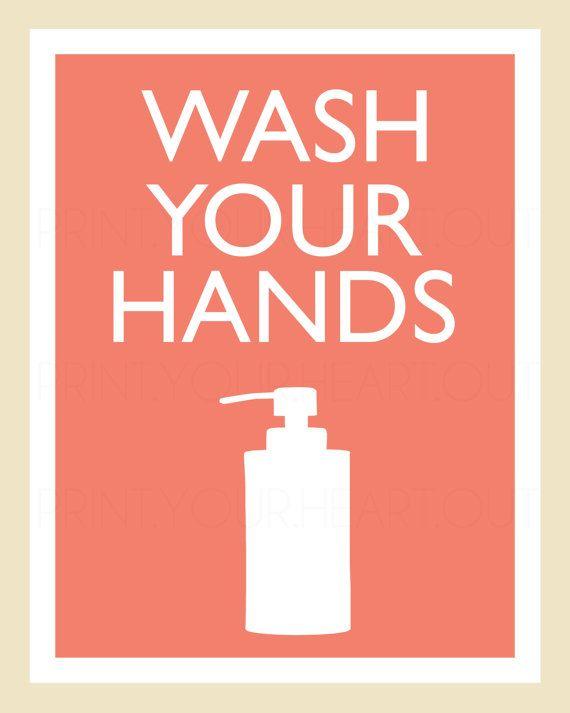 Printable Wash Your Hands Bathroom Art