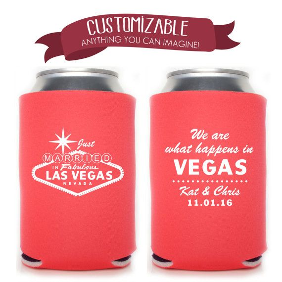Famous Las Vegas Sign Can Cooler Wedding by ChickDesignBoutique #koozie #weddingfavor #partyfavor