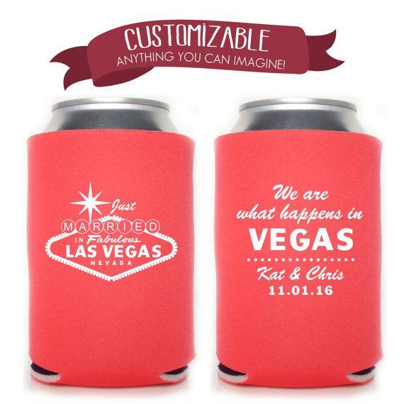 Famous Las Vegas Sign Can Cooler Wedding by ChickDesignBoutique #koozie #weddingfavor #partyfavor