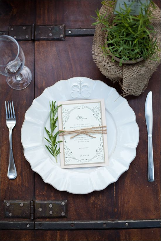 LOVE the use of our locally grown French Tarragon starter plant with re-purposed burlap coffee sack as a beautiful place setting!