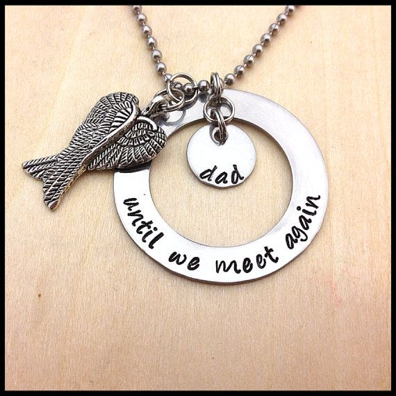 Hand Stamped My Angel Necklace Until We Meet Again Double Angel Wing Charm Heaven Remembrance Necklace Memory Jewelry