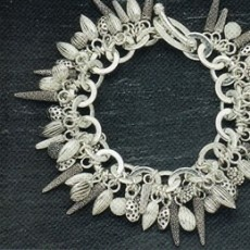 Catherine Hills :: Natural Forms inspired :: Silver acorns, combs and seeds Charm Bracelet :: Makers :: Bluecoat Display Centre