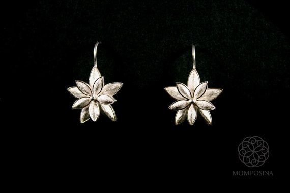 Gorgeous woven silver filigree double flower earrings in ultra-thin threads of the finest grade silver made in Colombia, South America.