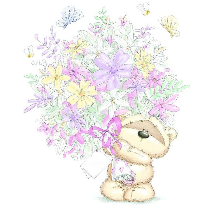 Работы, открытки с мишками с цветами