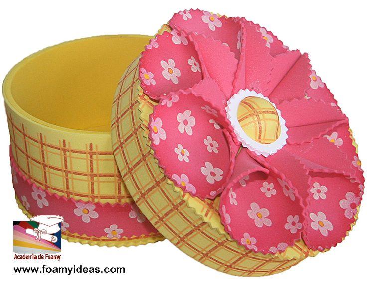 Round box with flowers organizer made from foam eva - Cosas de goma eva ...