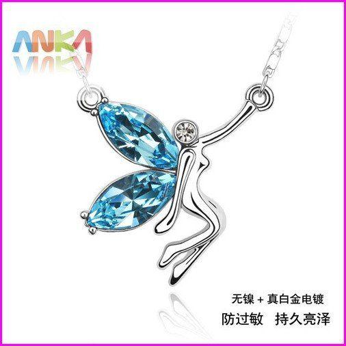 Spedizione gratuita/moda gioielli di cristallo/animale cristallo pendente/elfi farfalla collana/vestito da sera/dress#76416 matrimonio