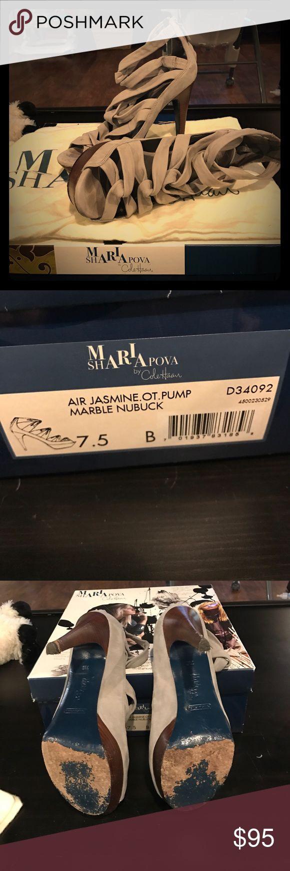 Maria Sharapova by Cole Haan Air Jasmine OT Pump Marble Nubucket color Gray size 7.5 Cole Haan Shoes Heels