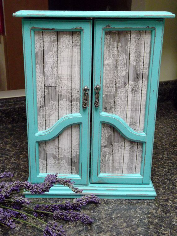 Shabby Chic,French Armoire Dresser Jewelry Box, Farmhouse Cabinet, Handpainted in Turquoise with Grey Barn Wood Paper