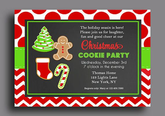 Christmas Cookie Invitation Printable Or Printed With Free