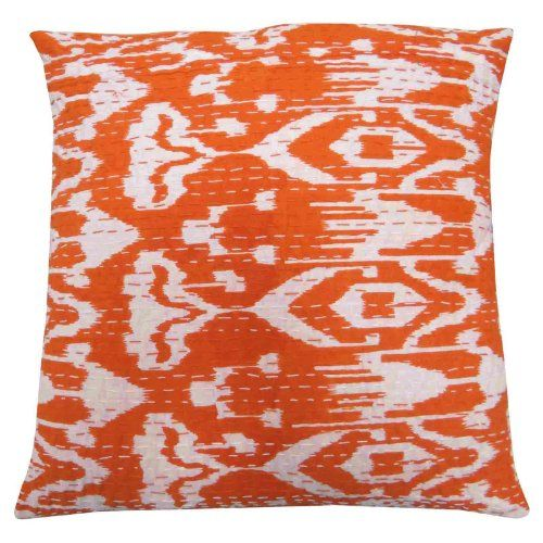 """Orange Cotton Home Décor Cushion Cover Abstract Print Kantha Stitch Pillow Case Indian Gift Art 16"""" inches Indianbeautifulart,http://www.amazon.co.uk/dp/B00HRU2X56/ref=cm_sw_r_pi_dp_KflCtb0G8YWR49BE"""
