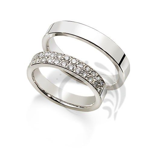 14k white Gold His and Her Wedding rings  0.56 ct 4 mm