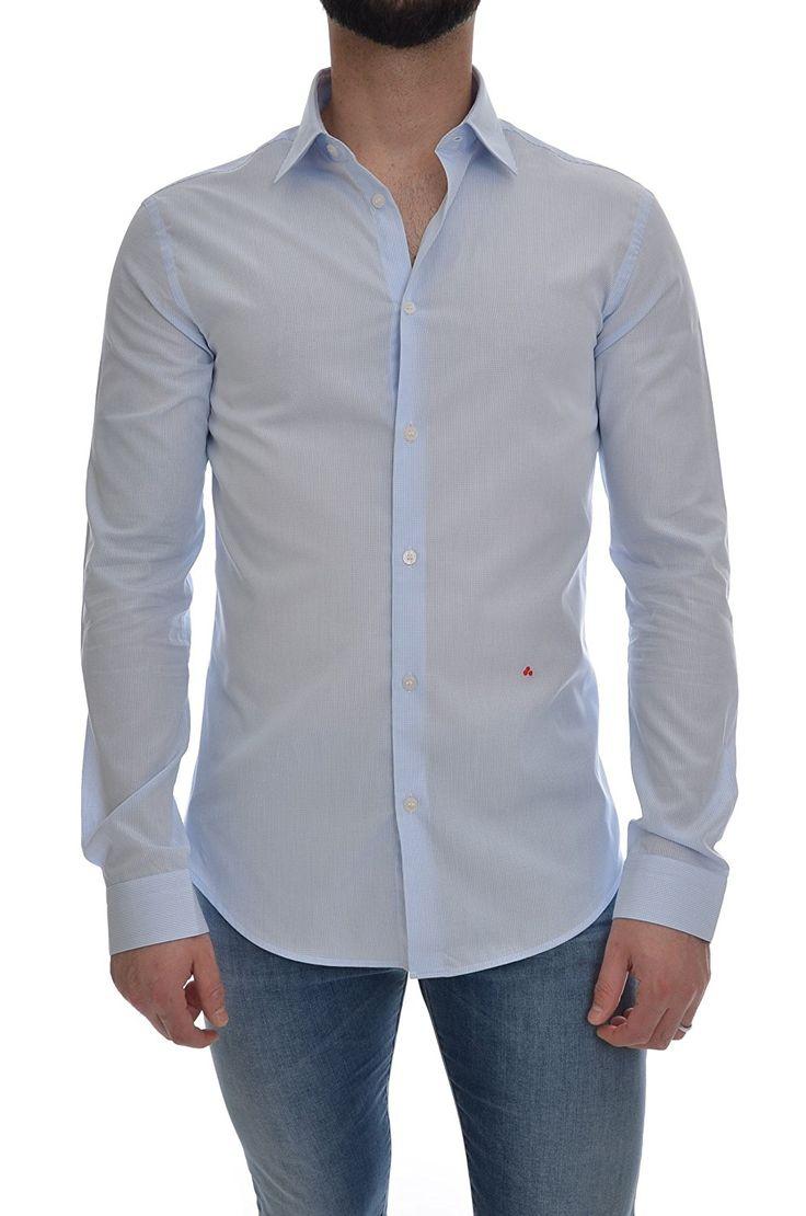 PEUTEREY Camicia micro quadretto manica lunga uomo, MASSONIA FNT 225, slim fit: Amazon.it: Abbigliamento