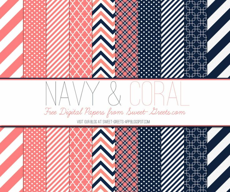 Just Peachy Papers: Free Navy and Coral Digital Paper Set