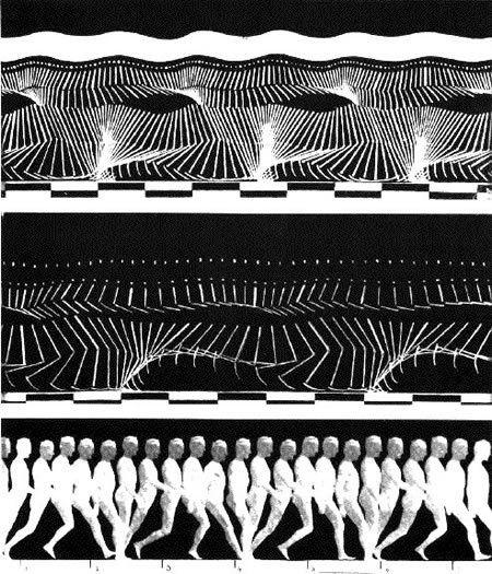 Jules Etienne Marey photographie la décomposition des mouvements pendant la locomotion humaine.  JPEG - 86.4ko