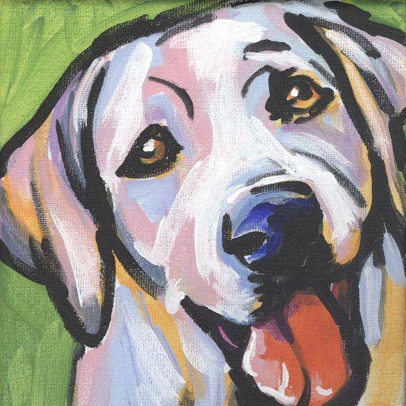 Labrador Retriever modern Dog art print Yellow by BentNotBroken, $22.99