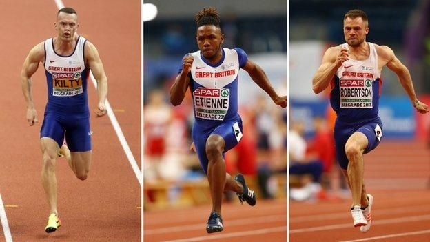 European Indoor Athletics: Champion Richard Kilty leads Britons into 60m semis    Asha Philip and men's trio Richard Kilty, Theo Etienne and Andy Robertson all win their 60m heats at the European Indoor Championships in Belgrade.   http://www.bbc.co.uk/sport/athletics/39165205