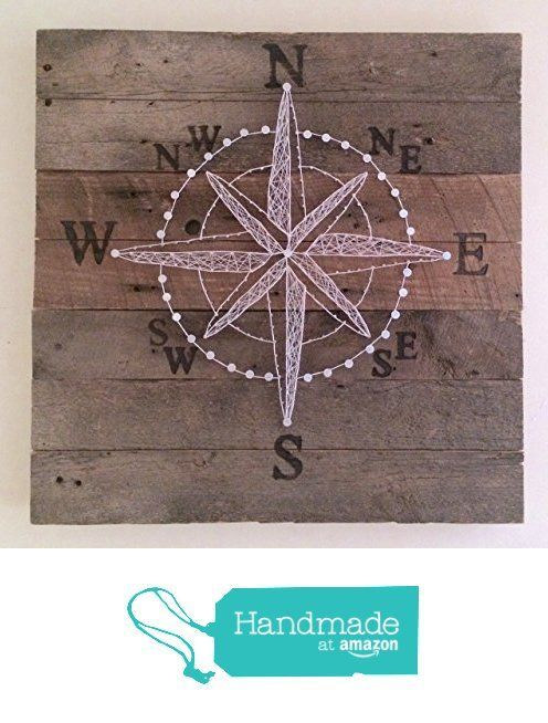 Reclaimed wood string art compass rose art work with branded coordinates, 2'x2'. A perfect nautical gift for sailors, beach cottages and home decore. FREE SHIPPING from Nail it Art https://www.amazon.com/dp/B01KNB1O2S/ref=hnd_sw_r_pi_awdo_Gz0vybYG1TWWD #handmadeatamazon