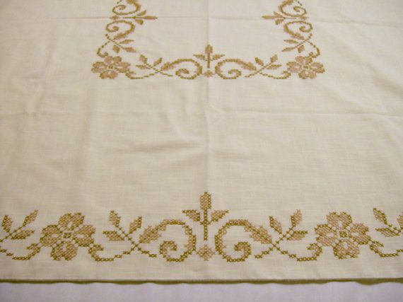 Vintage Tablecloth, Vintage Tablecloth with Embroidery, Cross Stitch Brown Floral, Large Tablecloth