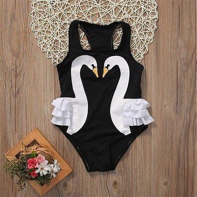 Balita Anak-anak Bayi Gadis Swan Bikini Pakaian Renang One-Piece Swimsuit Kolam Kostum
