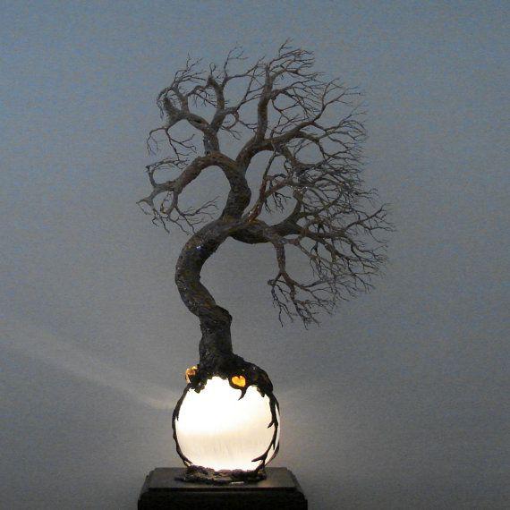 Full Moon Rising Tree Of Life Wind Spirit sculpture Selenite Sphere Amethyst Crystal Gemstone Lamp Wedding Anniversary handmade gift idea