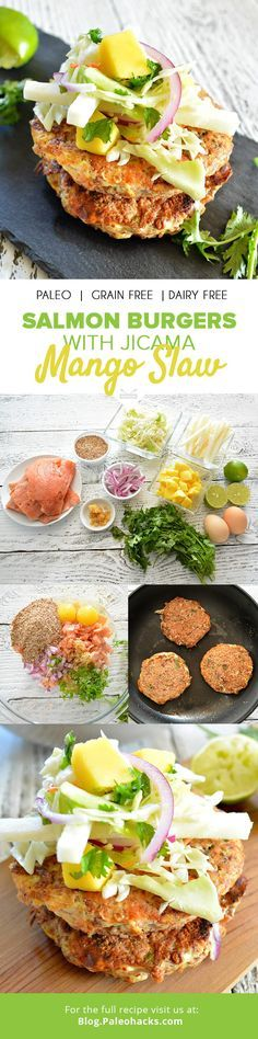Forget the bun and enjoy these simple salmon burgers over crunchy mango jicama slaw for a refreshing combination bursting with summertime flavors. For the full recipe, visit us here: http://paleo.co/salmonburgersrcp
