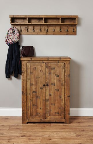 Rough Sawn Oak Shoe Cupboard #wood #oak #furniture #storage #shoes #cupboard #home #interior #decor #bedroom #hallway