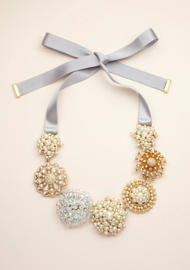 Carolee bib necklace $119 -I feel like this could be a moderately easy DIY project with vintage brooches.  #DIY #necklace #jewelry