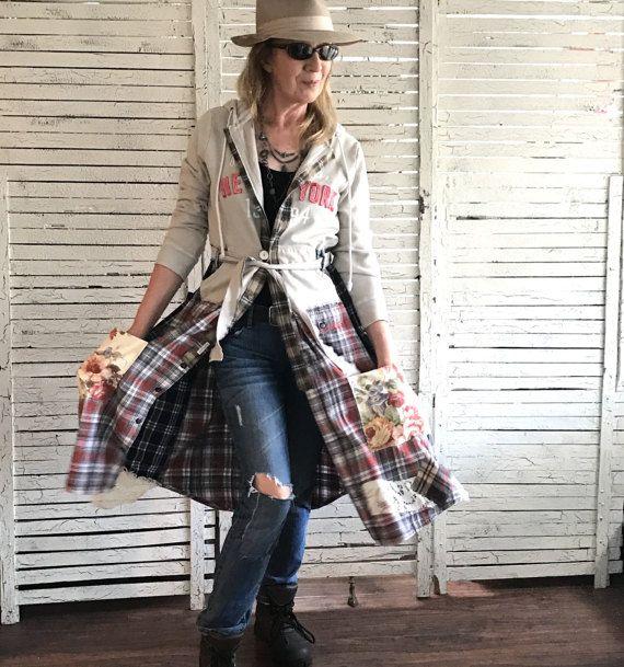 Hoodie en Flanel jas S/M, Prairie Chic, Upcycled kleding voor vrouwen, stedelijk, Boho kleding