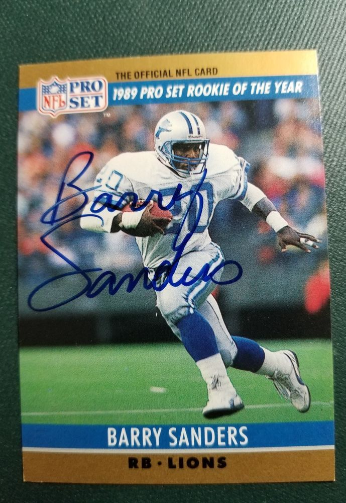 Barry Sanders Signed 1990 Trade Show Pro Set Card 1 Autograph Gil
