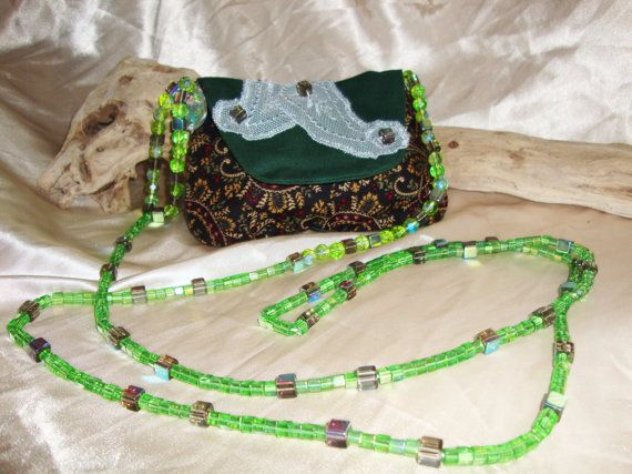 Lace Appliqued on Green Bag by OneGoldenCloud on Etsy