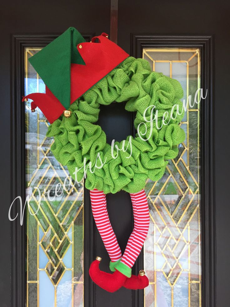 "Elf burlap wreath 18"" wide Wreaths by Ileana https://www.facebook.com/pages/Wreaths-by-Ileana/690079201043178"
